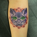 cat abstract dot tattoo color